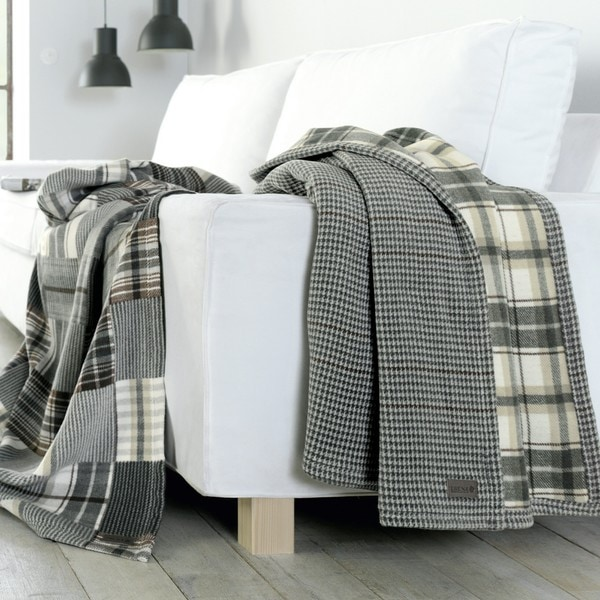 Houndstooth/Plaid Reversible Oversized Throw