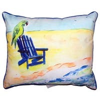 Parrot and Chair Small Indoor/ Outdoor Throw Pillow