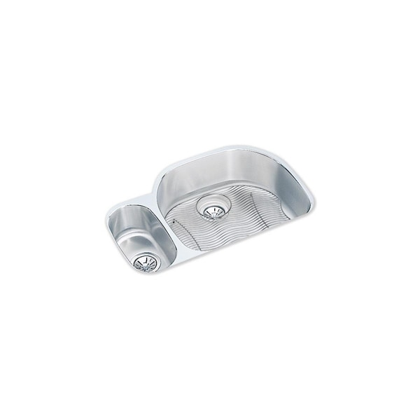 """Elkay Lustertone Classic Stainless Steel 31-1/2"""" x 21-1/8"""" x 10"""", 30/70 Offset Double Bowl Undermount Sink Kit"""