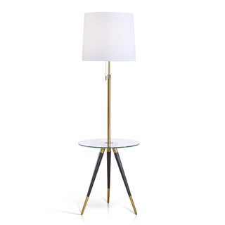 HomeTREND Premiere Antique Brass and Clear Glass Tripod Table Floor Lamp with Fabric Shade