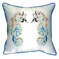 Betsy's Seahorses Small Indoor/ Outdoor Throw Pillow