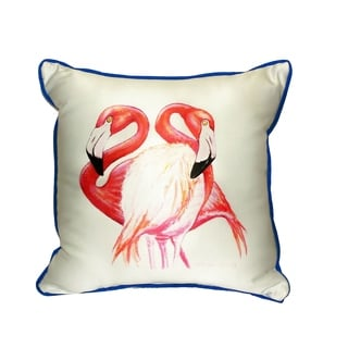 Two Flamingos Small Indoor/ Outdoor Throw Pillow