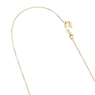 Luxurman 10k Solid Gold 0.7mm Wide 22-inch Shiny Adjustable Box Chain Necklace With Lobster Clasp and Heart Charm