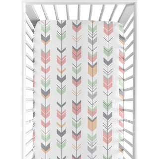 Sweet Jojo Designs Coral and Mint Mod Arrow Collection Fitted Crib Sheet