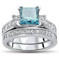 Noori Certified 14k Gold 2 1/2ct TDW Blue Princess-cut Diamond Bridal Set - White