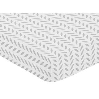 Sweet Jojo Designs Forest Deer Collection Grey Leaf Print Fitted Crib Sheet