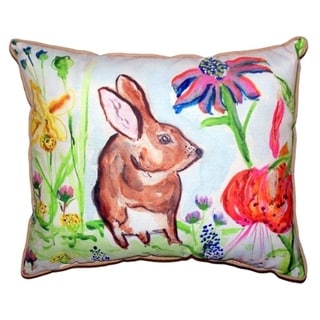 Brown Rabbit Right Small Indoor/ Outdoor Throw Pillow