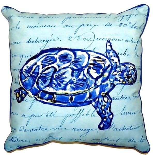 Sea Turtle Blue Script Small Indoor/ Outdoor Throw Pillow