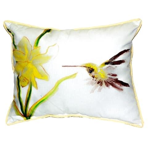 Yellow Hummingbird Small Indoor/ Outdoor Throw Pillow