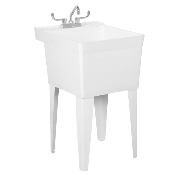 Fiat White Heavy-Duty Laundry Tub with Faucet