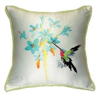 Blue Hummingbird Small Indoor/ Outdoor Throw Pillow