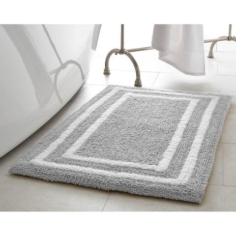 Jean Pierre Double Border Plush Reversible Cotton Bath Mat