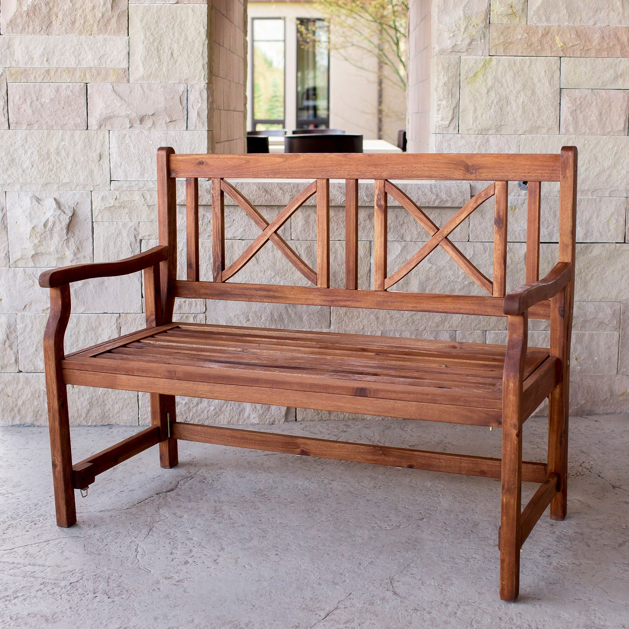 48 Inch Brown Acacia Wood Folding Patio Bench