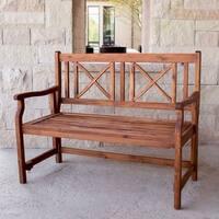 The Grey Barn Bluebird 48-inch Brown Acacia Wood Folding Patio Bench