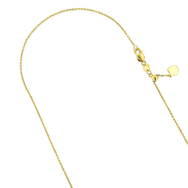 10k Yellow Gold Adjustable Cable Link Chain Necklace, 0.9mm, 22