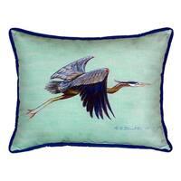 Flying Blue Heron - Teal Small Indoor/ Outdoor Throw Pillow