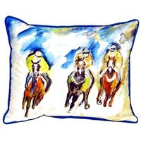 Three Racing Small Indoor/ Outdoor Throw Pillow