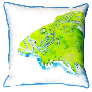 Green Fish Small Indoor/ Outdoor Throw Pillow