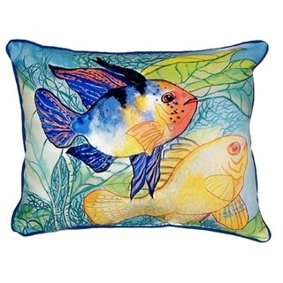 Betsy's Two Fish Small Indoor/ Outdoor Throw Pillow