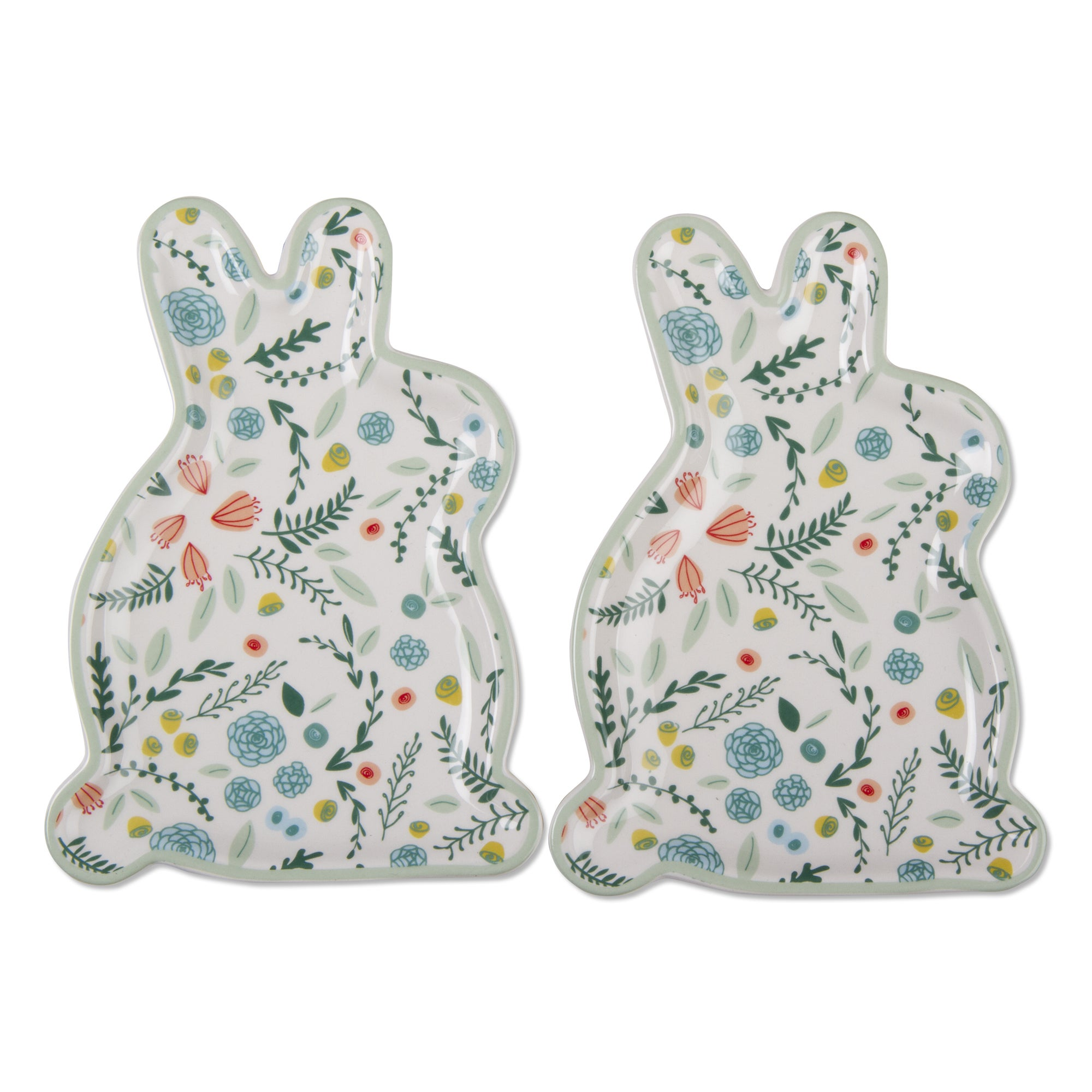 TAG Spring Floral Bunny Plate Set Of 2, Multi