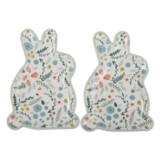 TAG Spring Floral Bunny Plate Set Of 2