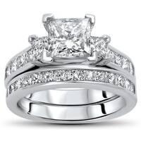 Noori Certified 14k Gold 2 1/2ct TDW Princess-cut Diamond Bridal Set - White