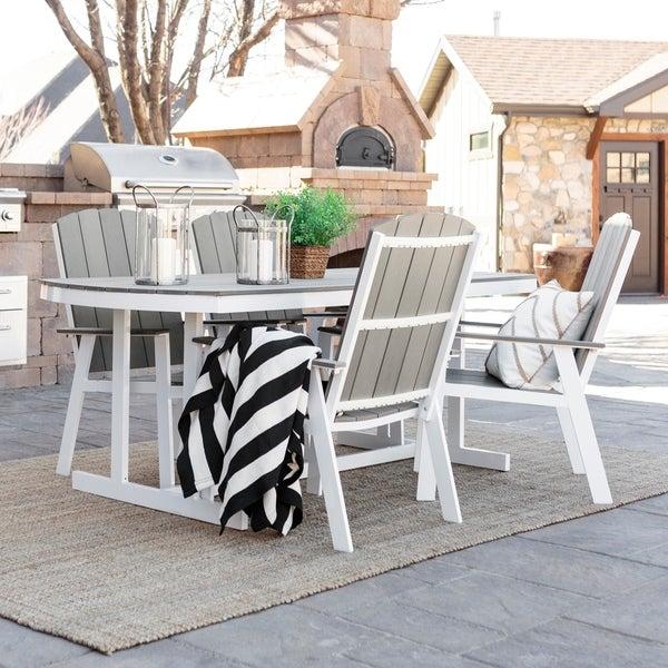 5 Piece Coastal Outdoor Dining Set Grey White