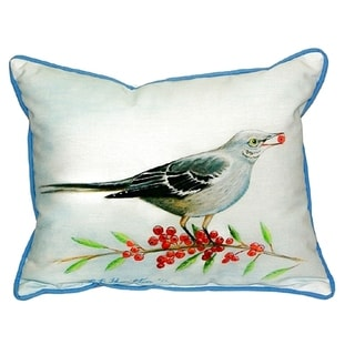 Mockingbird and Berries Small Indoor/ Outdoor Throw Pillow