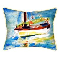 Yellow Sailboat Small Indoor/ Outdoor Throw Pillow