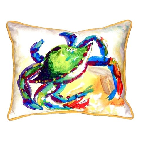 Teal Crab Small Indoor/ Outdoor Throw Pillow
