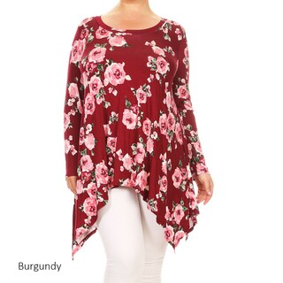 Women's Plus Size Floral Rose Pattern Tunic