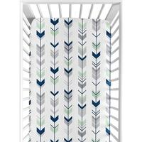 Sweet Jojo Designs Navy/ Mint Woodsy Collection Arrow Print Fitted Crib Sheet
