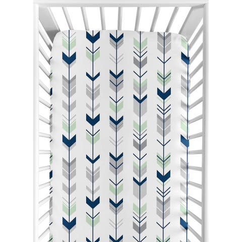 Sweet Jojo Designs Navy/Mint Woodsy Collection Arrow Print Fitted Crib Sheet