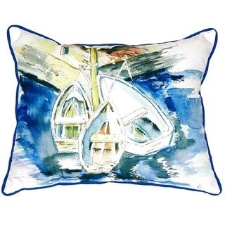 Three Row Boats Small Indoor/ Outdoor Throw Pillow