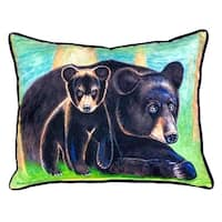 Bear and Cub Small Indoor/ Outdoor Throw Pillow