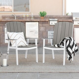 Coastal Outdoor Dining Chairs, Set of 2 - Grey/White
