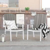 Coastal Outdoor Patio Chairs, Set of 2 - Grey/White