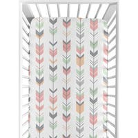 Sweet Jojo Designs Woodsy Collection Coral and Mint Microfiber Arrow Print Fitted Crib Sheet