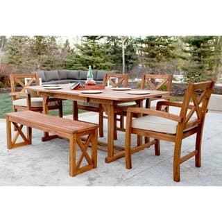 6-Piece X-Back Acacia Patio Dining Set with Cushions|https://ak1.ostkcdn.com/images/products/14605133/P21148886.jpg?impolicy=medium