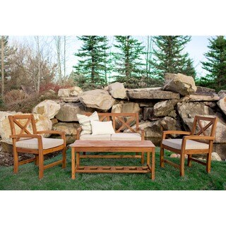 4-Piece X-Back Acacia Patio Conversation Set with Cushions