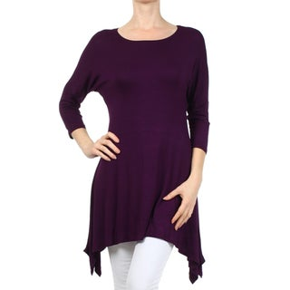 Women's Purple Solid Dolman Tunic