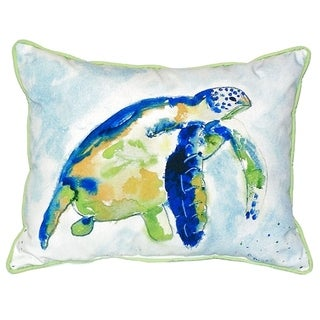 Blue Sea Turtle Small Indoor/ Outdoor Throw Pillow