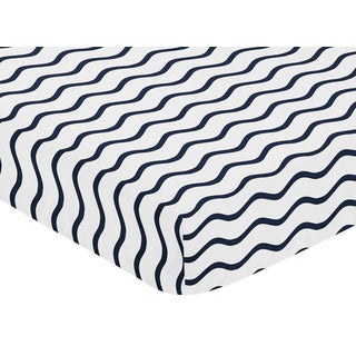Sweet Jojo Designs Whale Collection Chevron Wave Print Fitted Crib Sheet