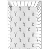Sweet Jojo Designs Grey and White Stag Collection Fitted Crib Sheet