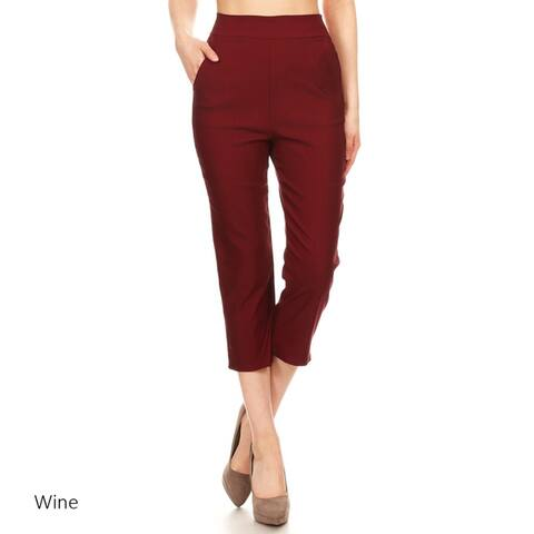 Women's Solid Straight Capri Pants