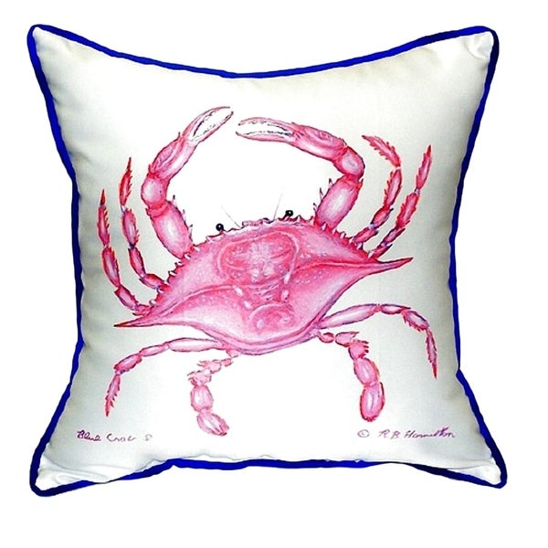 Shop Pink Crab Small Indoor Outdoor Throw Pillow Free