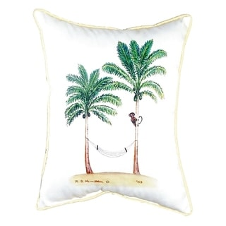 Palm Trees and Monkey Small Indoor/ Outdoor Throw Pillow