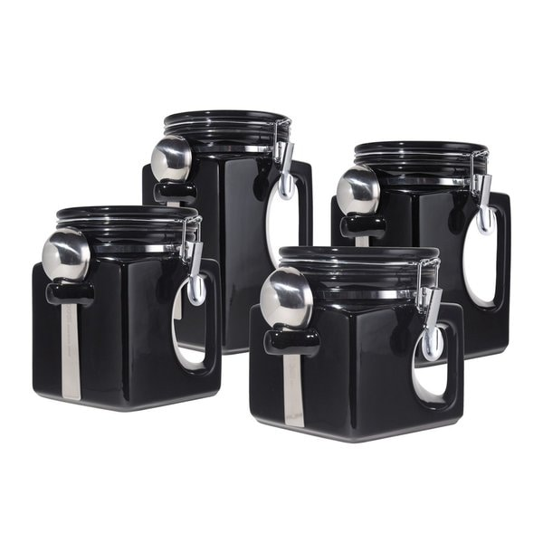 oggi kitchen canisters shop oggi black ceramic airtight canisters with stainless steel spoons set of 4 free 7890