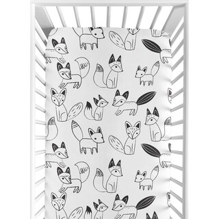 Sweet Jojo Designs Black and White Fox Collection Fitted Crib Sheet