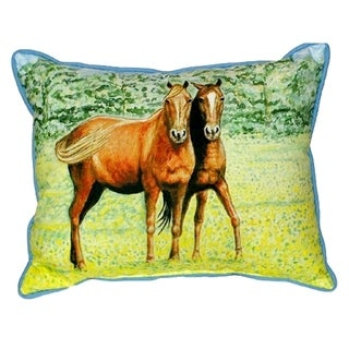 Two Horses Small Indoor/ Outdoor Throw Pillow
